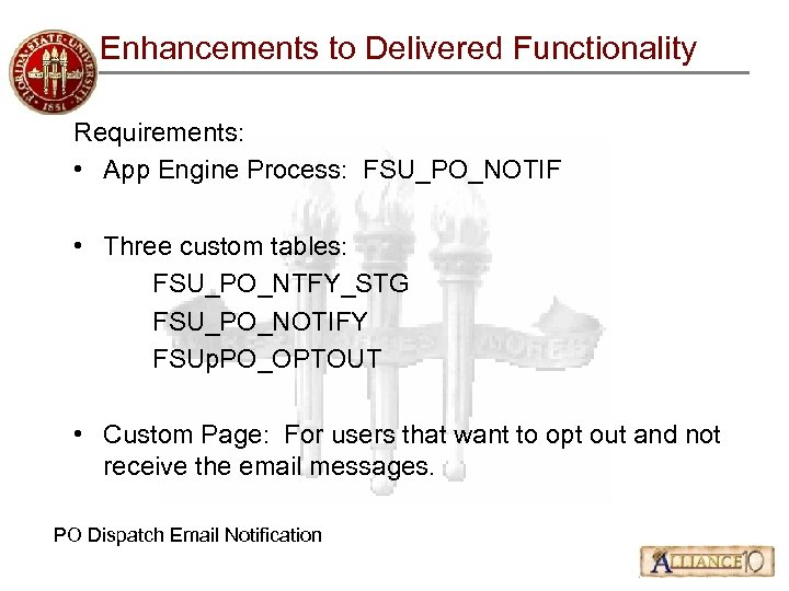Enhancements to Delivered Functionality Requirements: • App Engine Process: FSU_PO_NOTIF • Three custom tables: