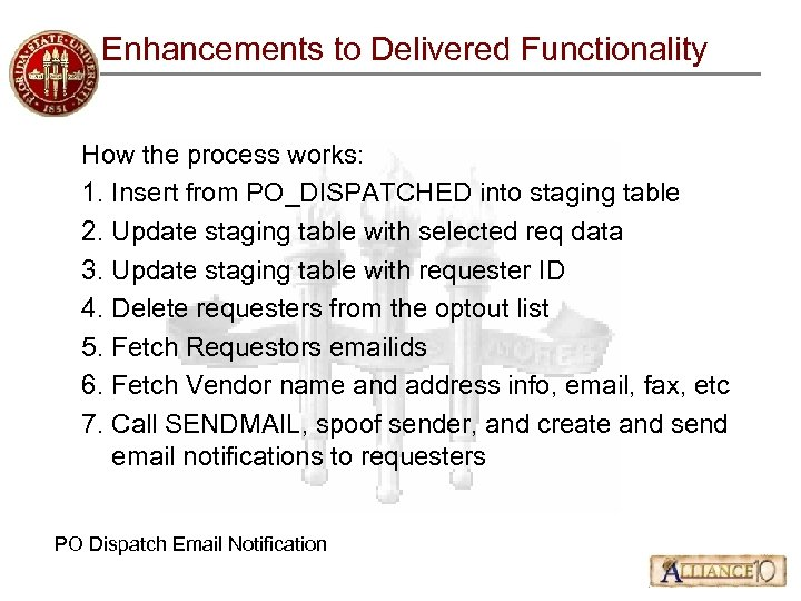 Enhancements to Delivered Functionality How the process works: 1. Insert from PO_DISPATCHED into staging