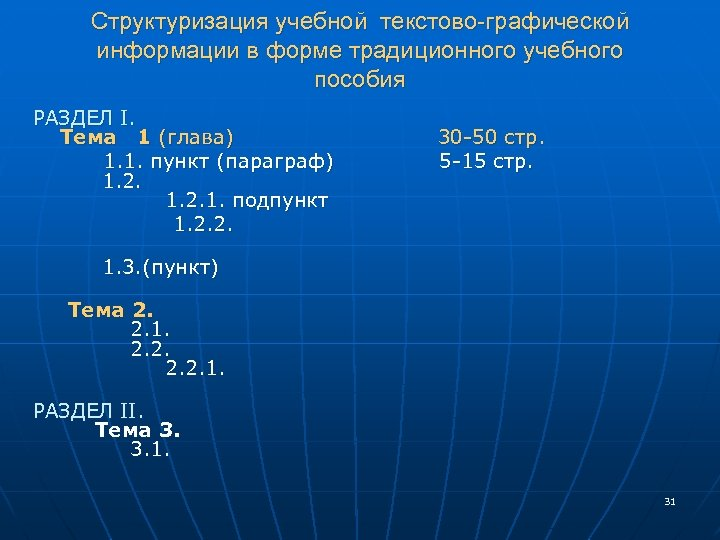 Структуризация учебной текстово-графической информации в форме традиционного учебного пособия РАЗДЕЛ I. Тема 1 (глава)