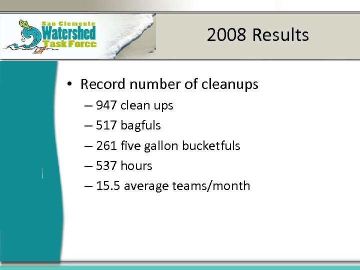 2008 Results • Record number of cleanups – 947 clean ups – 517 bagfuls