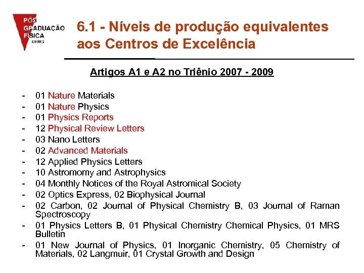 6. 1 - Níveis de produção equivalentes aos Centros de Excelência Artigos A 1