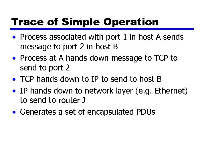 Trace of Simple Operation • Process associated with port 1 in host A sends
