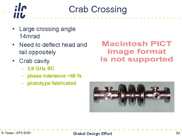 Crab Crossing • Large crossing angle 14 mrad • Need to deflect head and