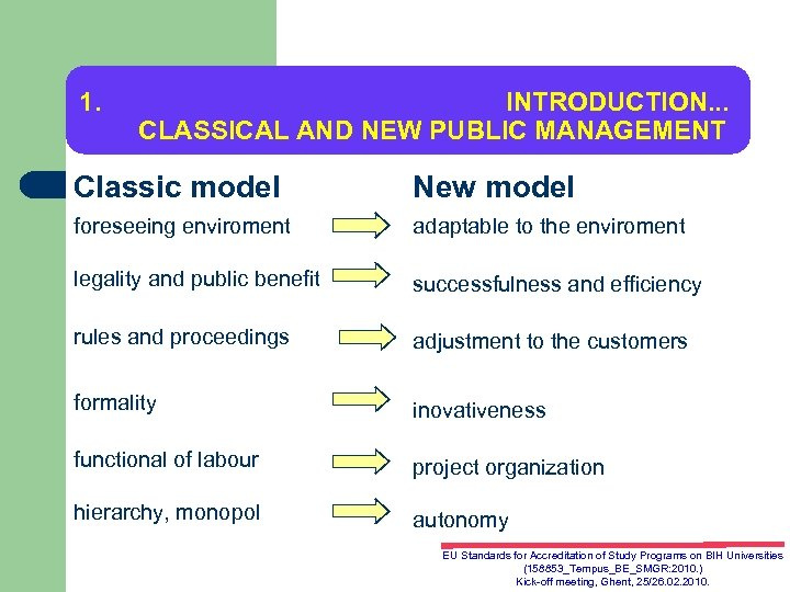 1. INTRODUCTION. . . CLASSICAL AND NEW PUBLIC MANAGEMENT Classic model New model foreseeing