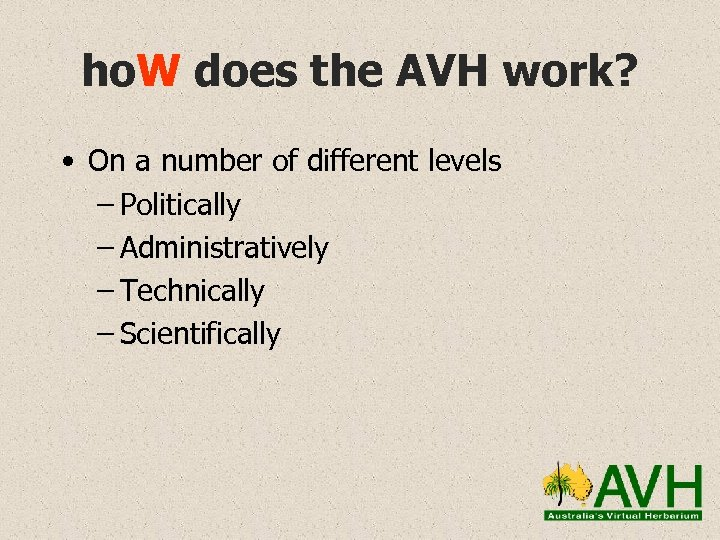 ho. W does the AVH work? • On a number of different levels –