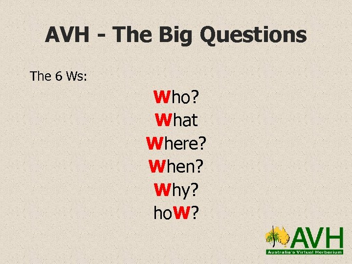 AVH - The Big Questions The 6 Ws: Who? What Where? When? Why? ho.