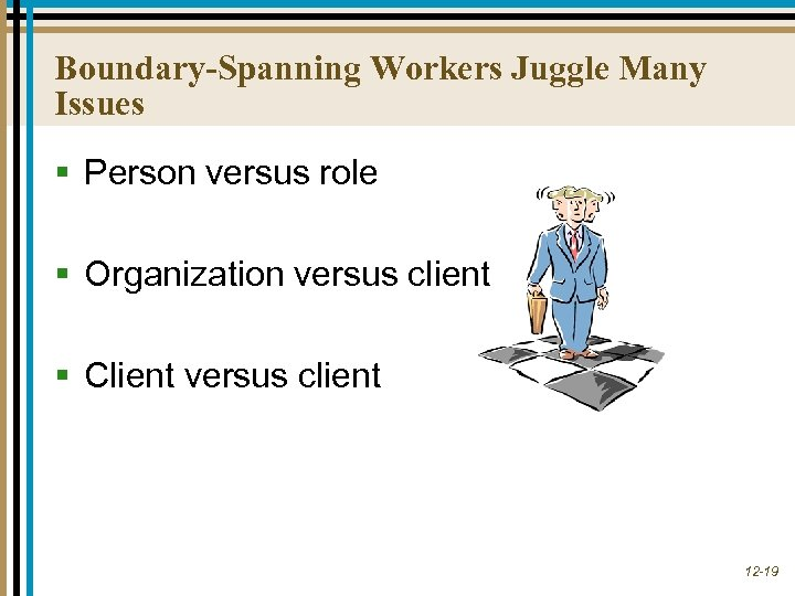 Boundary-Spanning Workers Juggle Many Issues § Person versus role § Organization versus client §