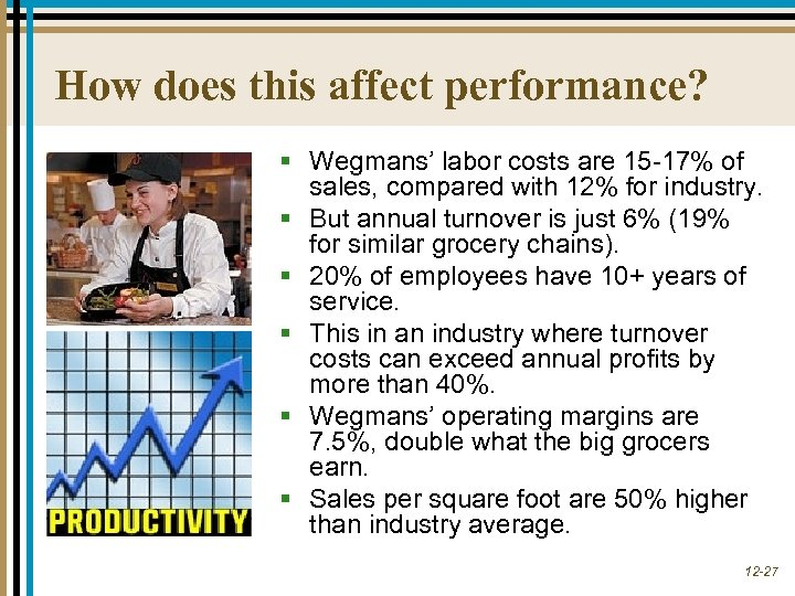 How does this affect performance? § Wegmans' labor costs are 15 -17% of sales,