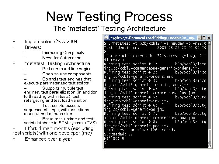 New Testing Process The 'metatest' Testing Architecture • • Implemented Circa 2004 Drivers: –