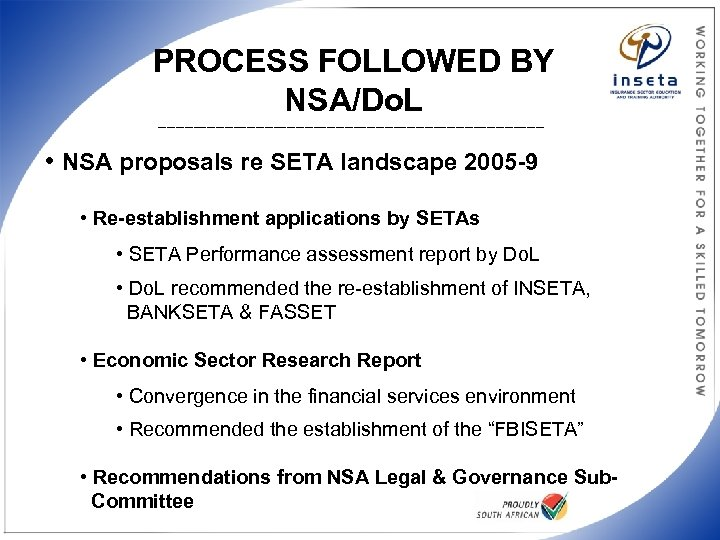 PROCESS FOLLOWED BY NSA/Do. L ____________________________________________ • NSA proposals re SETA landscape 2005 -9