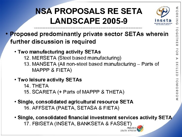 NSA PROPOSALS RE SETA LANDSCAPE 2005 -9 ________________________________________________ • Proposed predominantly private sector SETAs