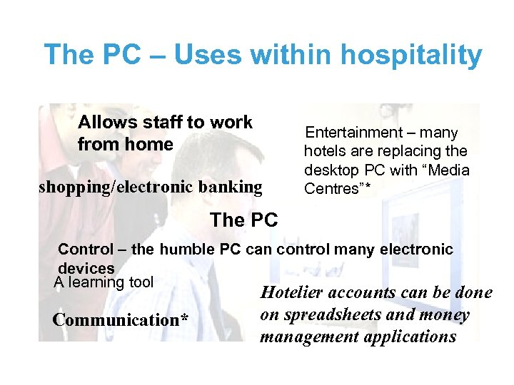 The PC – Uses within hospitality Allows staff to work from home shopping/electronic banking