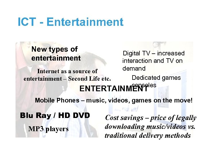 ICT - Entertainment New types of entertainment Internet as a source of entertainment –