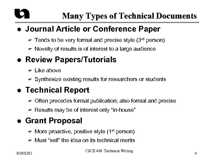 Many Types of Technical Documents l Journal Article or Conference Paper F F l