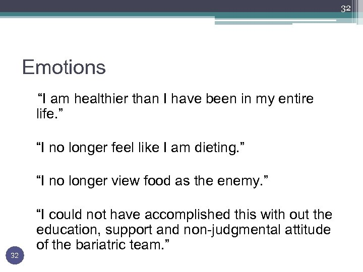 """32 Emotions """"I am healthier than I have been in my entire life. """""""
