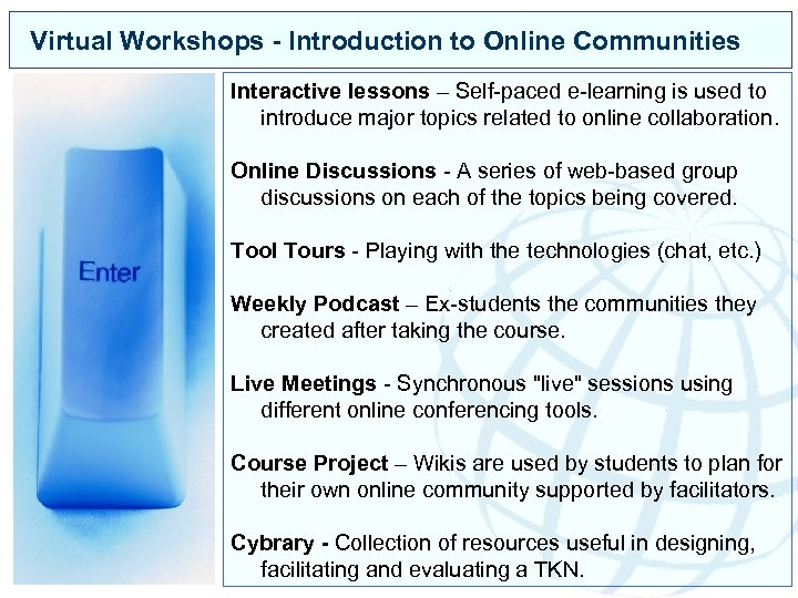 Virtual Workshops - Introduction to Online Communities Interactive lessons – Self-paced e-learning is used