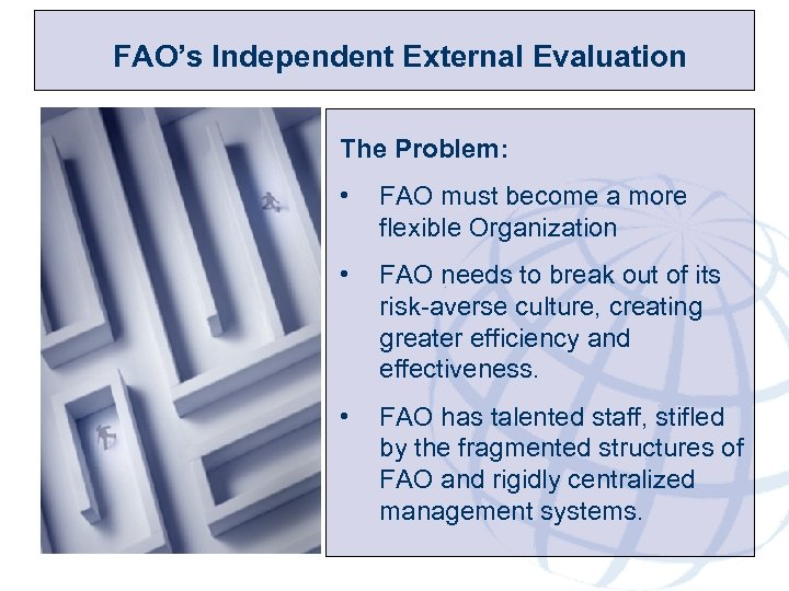 FAO's Independent External Evaluation The Problem: • FAO must become a more flexible Organization