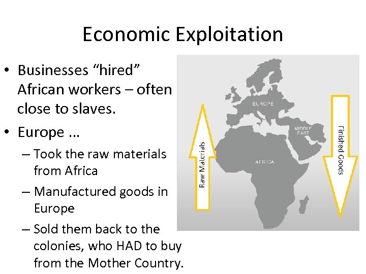 """Economic Exploitation • Businesses """"hired"""" African workers – often close to slaves. • Europe"""