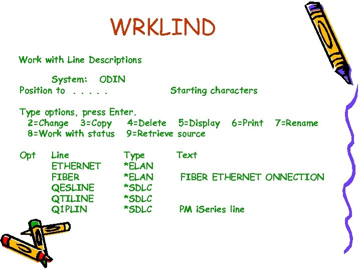 WRKLIND Work with Line Descriptions System: ODIN Position to. . . Starting characters Type
