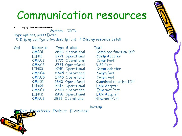 Communication resources • Display Communication Resources System: ODIN Type options, press Enter. 5=Display configuration