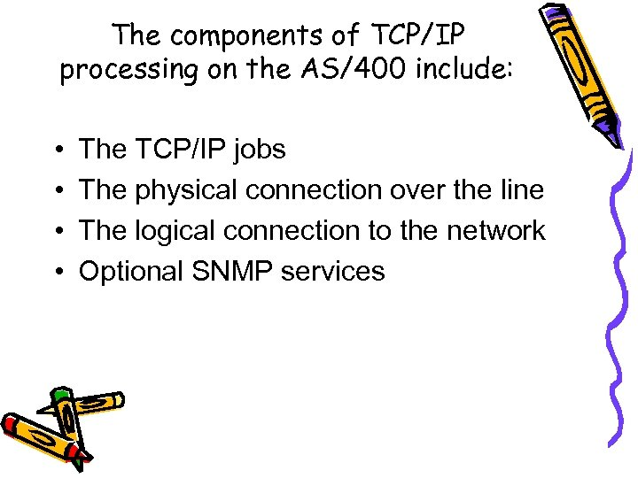 The components of TCP/IP processing on the AS/400 include: • • The TCP/IP jobs