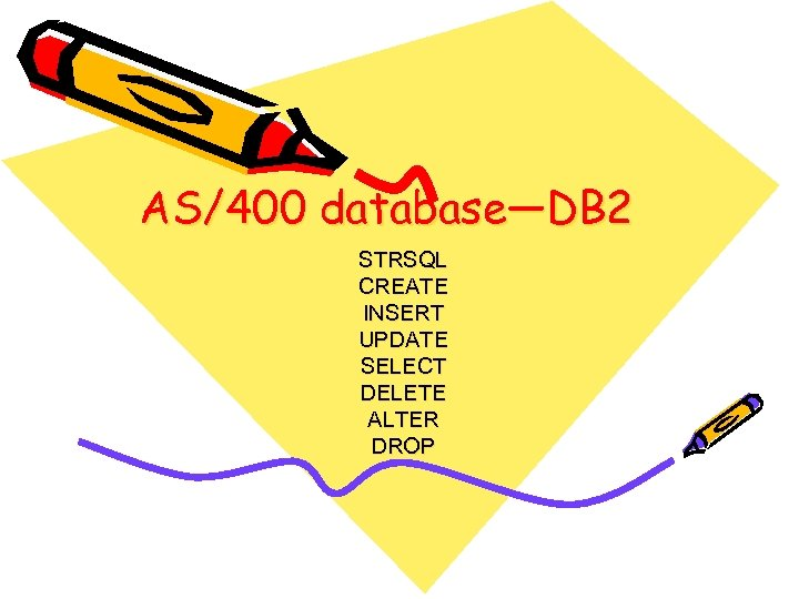 AS/400 database—DB 2 STRSQL CREATE INSERT UPDATE SELECT DELETE ALTER DROP