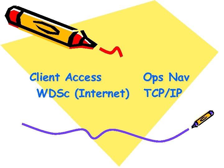 Client Access WDSc (Internet) Ops Nav TCP/IP