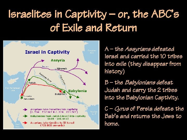 Israelites in Captivity – or, the ABC's of Exile and Return A – the