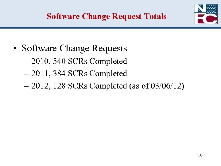 Software Change Request Totals • Software Change Requests – 2010, 540 SCRs Completed –