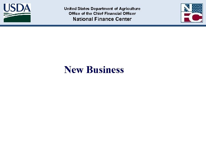 United States Department of Agriculture Office of the Chief Financial Officer National Finance Center
