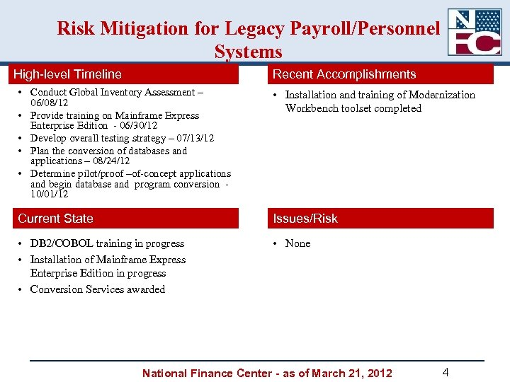 Risk Mitigation for Legacy Payroll/Personnel Systems High-level Timeline Recent Accomplishments • Conduct Global Inventory