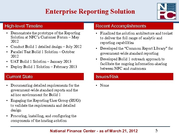 Enterprise Reporting Solution High-level Timeline Recent Accomplishments • Demonstrate the prototype of the Reporting