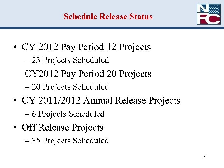 Schedule Release Status • CY 2012 Pay Period 12 Projects – 23 Projects Scheduled