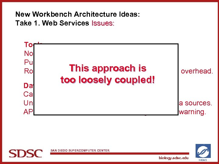 New Workbench Architecture Ideas: Take 1. Web Services Issues: Tools: No control over tool
