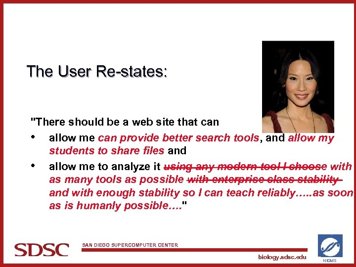The User Re-states: