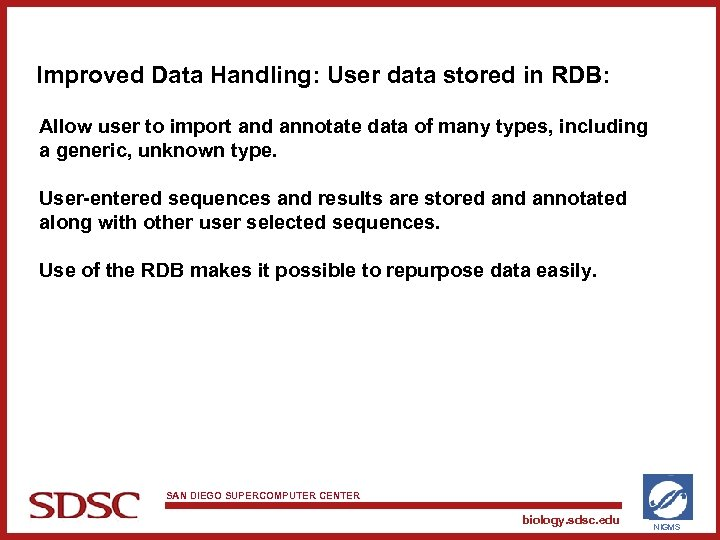 Improved Data Handling: User data stored in RDB: Allow user to import and annotate