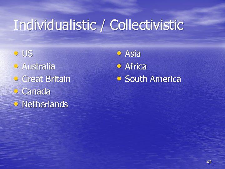 Individualistic / Collectivistic • US • Australia • Great Britain • Canada • Netherlands