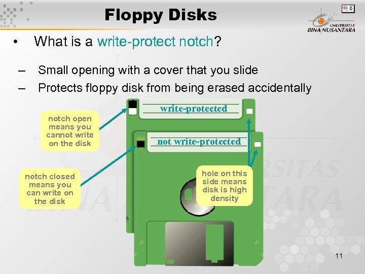 Floppy Disks • What is a write-protect notch? – – Small opening with a