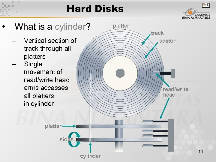 Hard Disks • What is a cylinder? – – Vertical section of track through