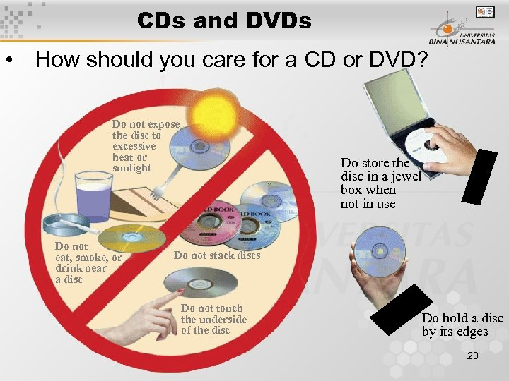 CDs and DVDs • How should you care for a CD or DVD? Do