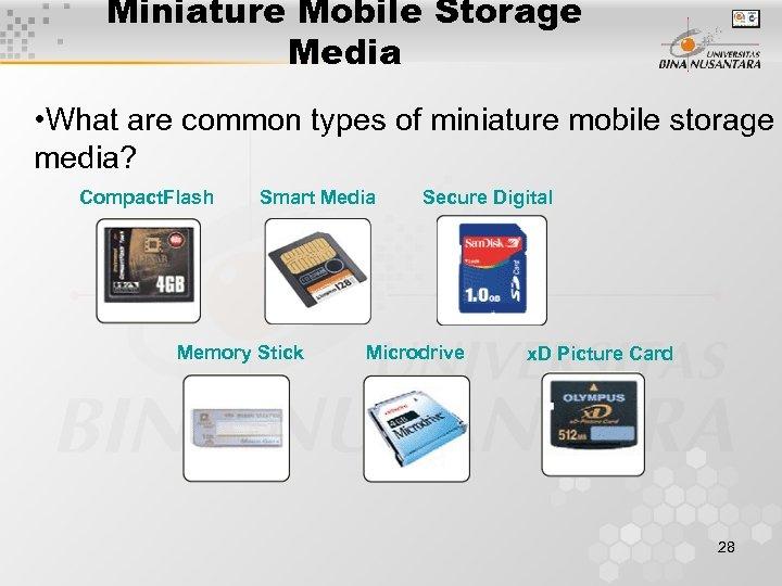 Miniature Mobile Storage Media • What are common types of miniature mobile storage media?