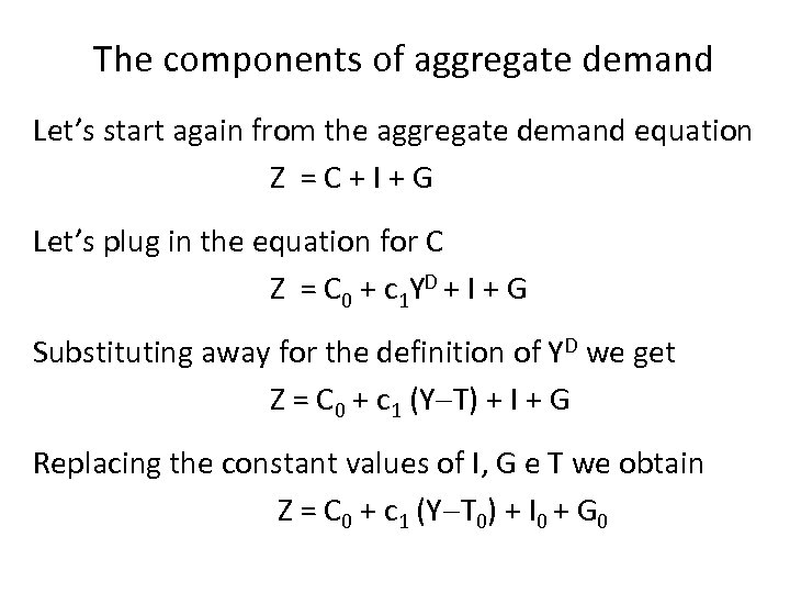 The components of aggregate demand Let's start again from the aggregate demand equation Z