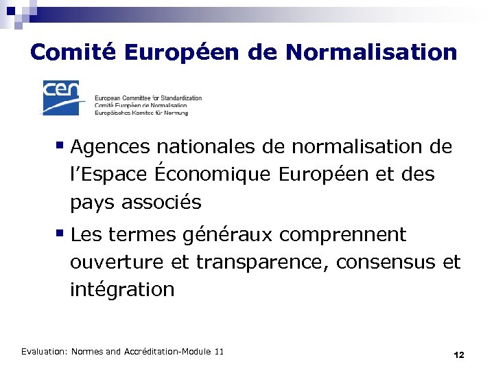 Comité Européen de Normalisation § Agences nationales de normalisation de l'Espace Économique Européen et