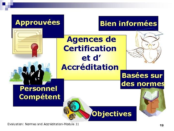 Approuvées Bien informées Agences de Certification et d' Accréditation Personnel Compétent Basées sur des