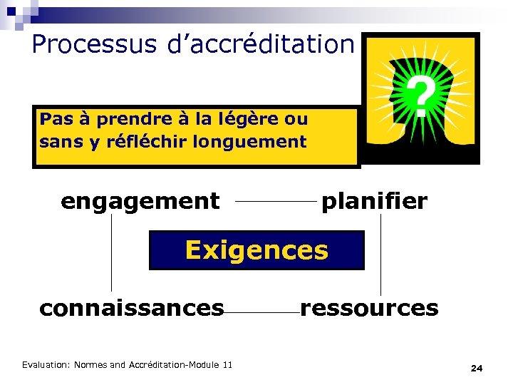 Processus d'accréditation Pas à prendre à la légère ou sans y réfléchir longuement engagement
