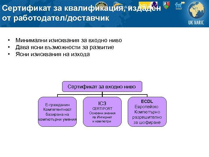 Сертификат за квалификация, издаден от работодател/доставчик • Минимални изисквания за входно ниво • Дава