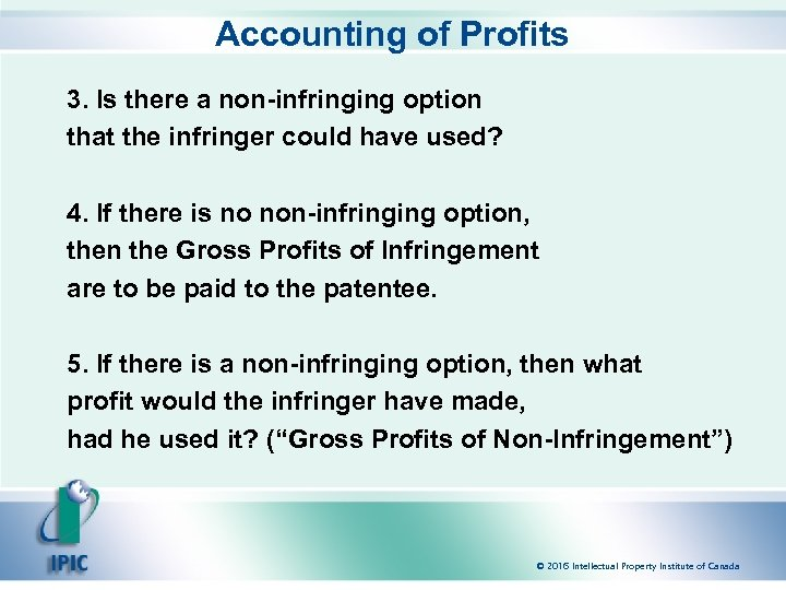 Accounting of Profits 3. Is there a non-infringing option that the infringer could have