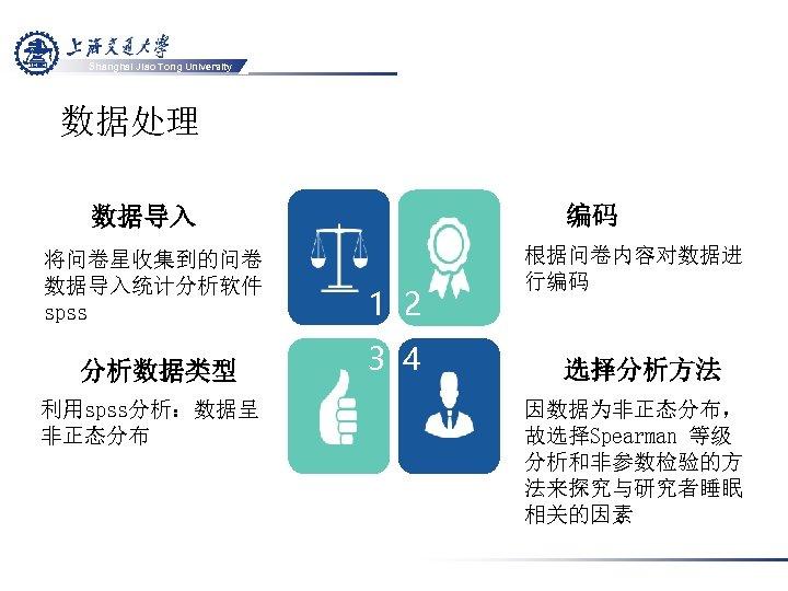 Shanghai Jiao Tong University 数据处理 编码 数据导入 将问卷星收集到的问卷 数据导入统计分析软件 spss 1 2 分析数据类型 3