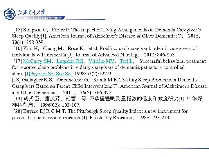 Shanghai Jiao Tong University [15] Simpson C,Carter P. The Impact of Living Arrangements on