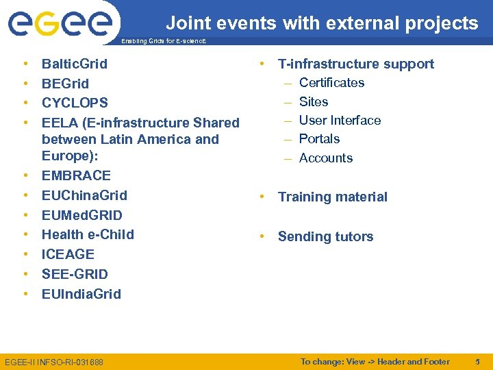 Joint events with external projects Enabling Grids for E-scienc. E • • • Baltic.